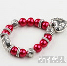 Red acrylic pearl stretch bracelet with heart charms