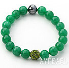 Dark Green Series 10mm Green Jade and Rhinestone Beaded Stretch Bracelet