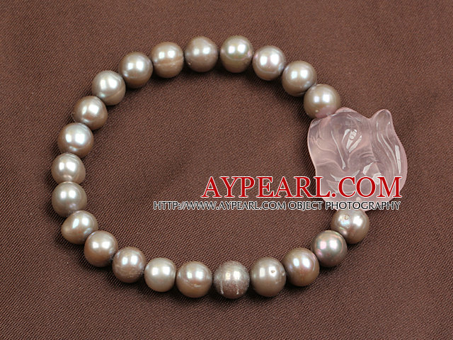 Simple Elegant Style Natural Grey Freshwater Pearl Elastic/ Stretch Bracelet With Rose Quartz Fox Charm