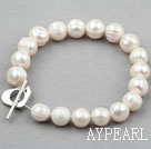 Wholesale Classic Design White Screw Thread Freshwater Pearl Bridal Bracelet with Heart Shape Toggle Clasp