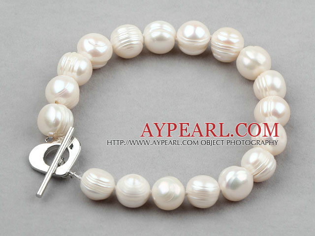 Classic Design White Screw Thread Freshwater Pearl Bridal Bracelet with Heart Shape Toggle Clasp