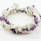 Wholesale Four Strands White Freshwater and Amethyst and Prehnite Bracelet