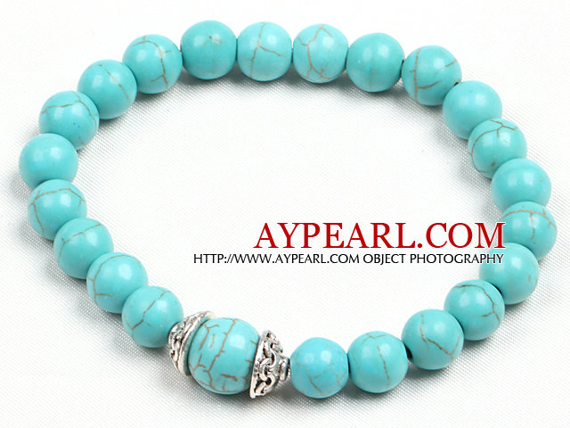 Simple Style Single Strand Turquoise Bead Stretch/ Elastic Bracelet