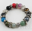 mutl color natual gem stone beaded elastic bracelet
