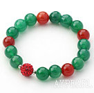 Green Series 10mm Green Agate and Carnelian and Rhinestone Beaded Stretch Bracelet