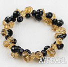 Wholesale 7.5 inches elastic mandmade black and yellow bracelet