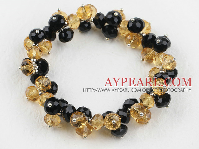 7.5 inches elastic mandmade black and yellow bracelet