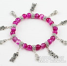 8mm pink agate elastic bracelet with lovely charms