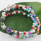 Wholesale multi strand colorful 3-4 mm pearl bracelet