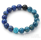 Blue Series 10mm Lapis and Kyanite and Rhinestone Beaded Stretch Bracelet