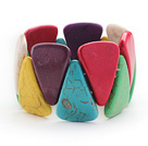 Big Style Triangle Shape Multi Color Turquoise Stretch Bangle Bracelet