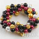 multi strand colorful crystal and shell beads elastic bracelet