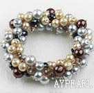 multi strand crystal and shell beads elastic bracelet