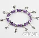 8mm faceted natural amethyst bracelet with heart charms
