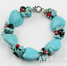 Wholesale heart shape turquoise and crystal bracelet