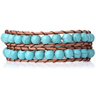 Two Rows Round Turquoise Beads Weaved Wrap Bangle Bracelet with Metal Clasp