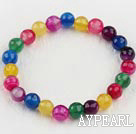stretchy fasettert 6mm candy farge agat beaded armbånd