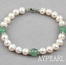 Wholesale White Freshwater Pearl and Aventurine Bracelet with Rhinestone
