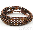 Two Rows Round Tiger Eye Weaved Wrap Bangle Bracelet with Metal Clasp