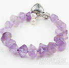 Wholesale Faceted Light Color Amethyst Bracelet with Heart Shape Toggle Clasp