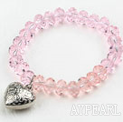 Wholesale Simple Design Pink Crystal Elastic Bangle Bracelet