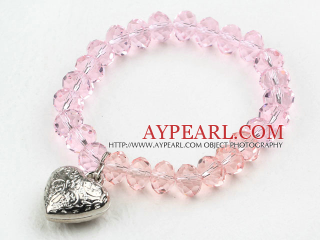 Simple Design Pink Crystal Elastic Bangle Bracelet