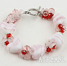 7.9inches heart shape colored glaze bracelet with toggle clasp