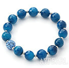 Wholesale Blue Series 10mm Faceted Blue Agate and Rhinestone Beaded Stretch Bracelet