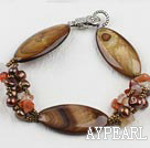 Wholesale 7.5 inches brown pearl and shell braclelet with toggle clasp