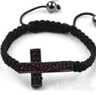 Wholesale Sideway/Side Way Two Row Cross with Red Rhinestone Woven Adjustable Drawstring Bracelet with Hematite Beads