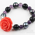 sea shell beads balck agate and amethyst elastic bangle with flower