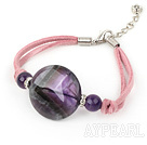 Cute Natural Round Amethyst Hand Knotted Pink Cords Bracelet With Extendable Chain
