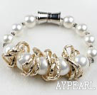 Wholesale white sea shell beads bracelet with magnetic clasp