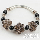 Wholesale elastic smoky quartze black agate bangle bracelet