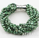 Wholesale Multi Strands Green Freshwater Pearl Twisted Bracelet with Magnetic Clasp
