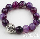 7.5 inches stretchy 14mm purple agate beaded bracelet
