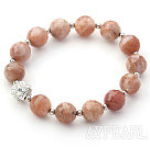 Pink Series 10mm Faceted Sun Stone and Metal Beads and Rhinestone Beaded Stretch Bracelet