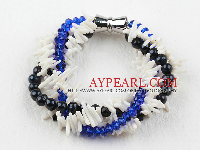 Multi Strand Pearl Crystal and White Coral Bracelet with Magnetic Clasp