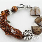 Wholesale Assorted Tiger Eye and Smoky Quartz and Clear Crystal Bracelet with Lobster Clasp