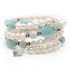 White Freshwater Pearl and Amazon Stone Wrap Bangle Bracelet