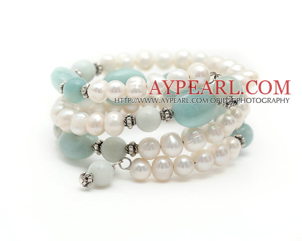 Vit Sötvatten Pearl och Amazon sten Wrap Bangle Armband