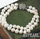 Two Strands 6-7mm White Freshwater Pearl Bridal Wedding Bracelet