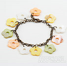 Assorted Multi Color Shell Flower Bracelet