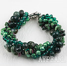 Wholesale Multi Strand Deark Green Pearl Crystal and Ocean Agate Bracelet