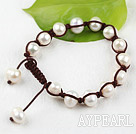 Wholesale New Design White Freshwater Pearl Woven Beaded Drawstring Ajustable Bracelet