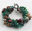 Multi Strand Green Pearl Crystal and Indian Agate Bracelet