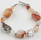 Wholesale 7.5 inches natural agate bracelet with toggle clasp