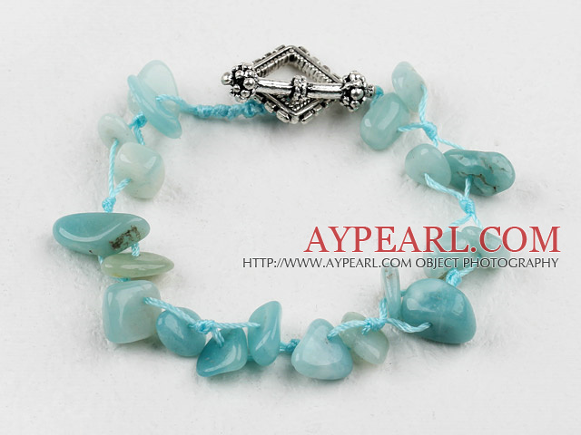 Fashion Multi Amazon Stone Threaded Bracelet With Rhombus Toggle Clasp