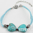 Wholesale heart shape turquoise bracelet with extendable chain