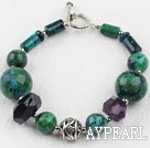 Wholesale phoenix stone and amethyst bracelet with toggle clasp
